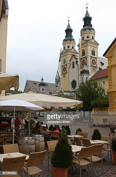 The bell towers of the Brixen Cathedral the place where Pope Benedict XVI will hold a holy mass during his summer holidays are seen on July 28 2008...