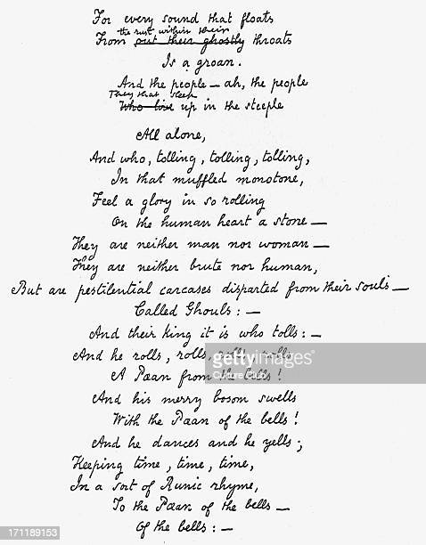 'The Bells' Edgar 'The Bells' Edgar Allan Poe's handwritten manuscript of the last verse of his poem EAP American author poet 19 January 1809 7...