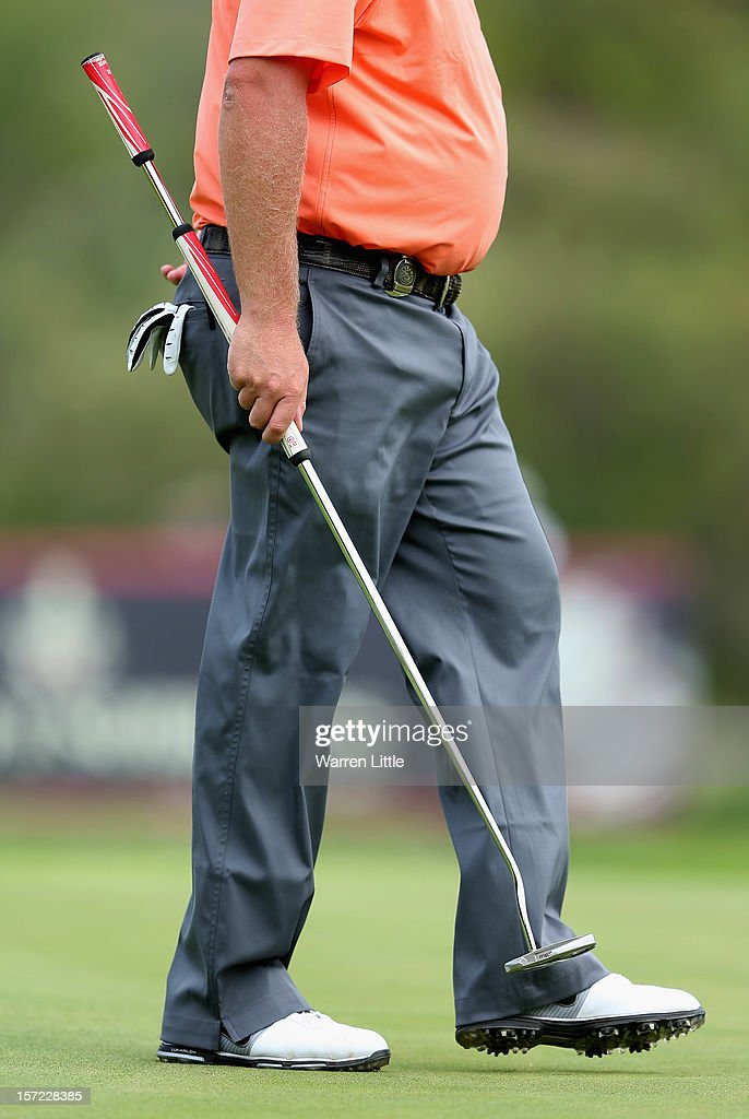 The belly putter of <a gi-track='captionPersonalityLinkClicked' href=/galleries/search?phrase=Carl+Pettersson&family=editorial&specificpeople=240693 ng-click='$event.stopPropagation()'>Carl Pettersson</a> of Sweden during the second round of the Nedbank Golf Challenge at the Gary Player Country Club on November 30, 2012 in Sun City, South Africa.