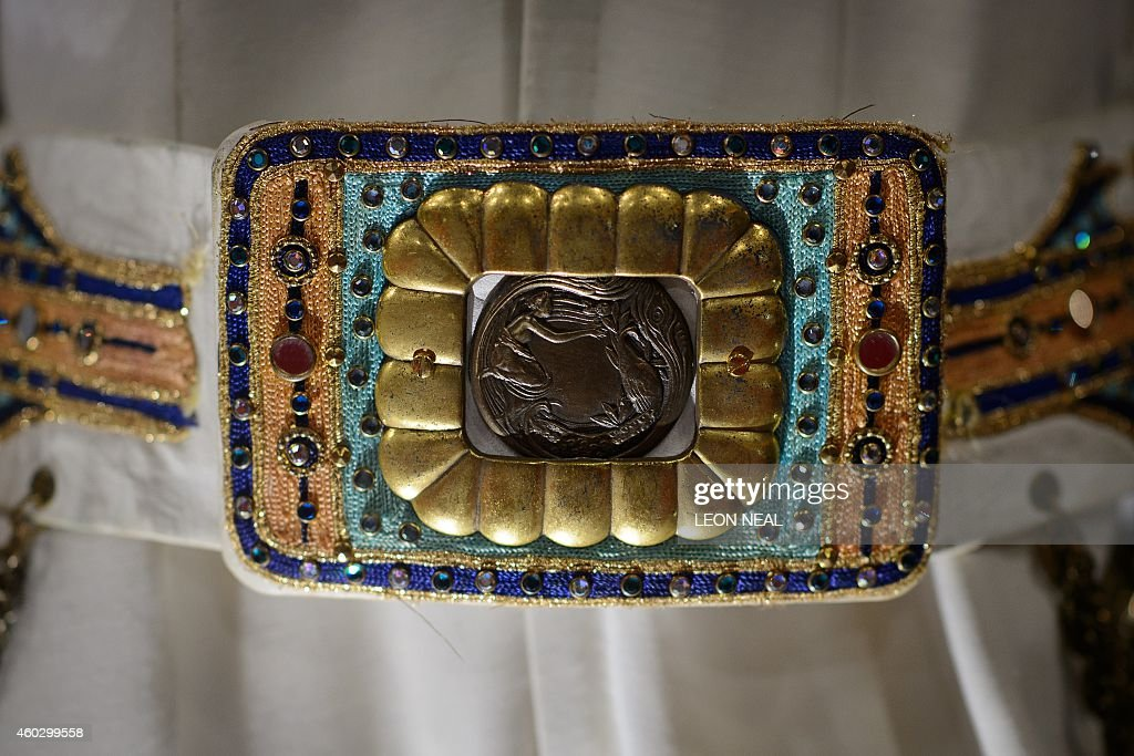 The belt from an embroidered King of Spades jumpsuit owned by US singer Elvis Presley is displayed during a photocall for the 'Elvis at the O2'...