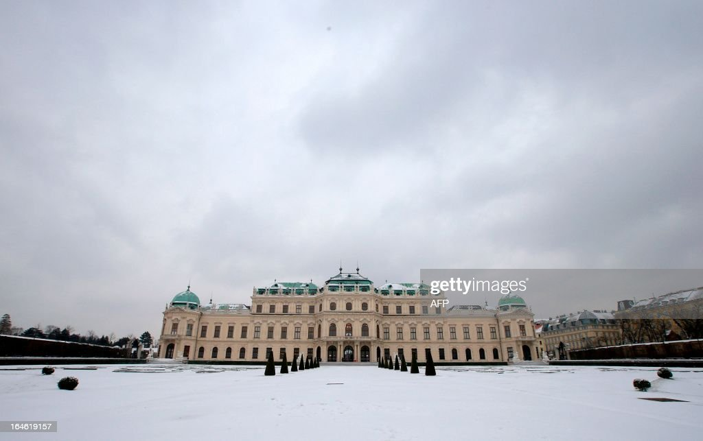 The Belvedere Palace is seen on a snowy day in Vienna on March 25, 2013. AFP PHOTO / ALEXANDER KLEIN