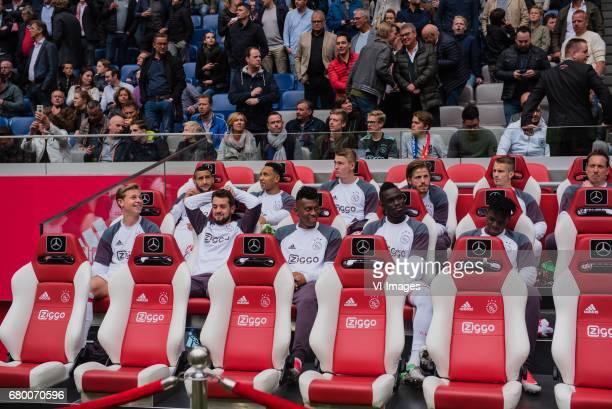 the bench of Ajax Hakim Ziyech of Ajax Kenny Tete of Ajax Matthijs de Ligt of Ajax Lasse Schone of Ajax Vaclav Cerny of Ajax goalkeeper Diederik Boer...