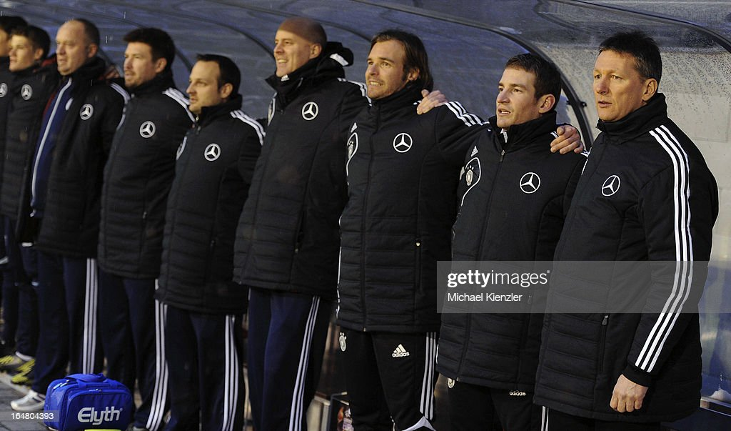 The bench of the German team with headcoach <a gi-track='captionPersonalityLinkClicked' href=/galleries/search?phrase=Frank+Wormuth&family=editorial&specificpeople=2515350 ng-click='$event.stopPropagation()'>Frank Wormuth</a> (R) and Jan Siewert before the international friendly match between U20 Switzerland and U20 Germany at Eps Stadium on March 26, 2013 in Baden, Switzerland