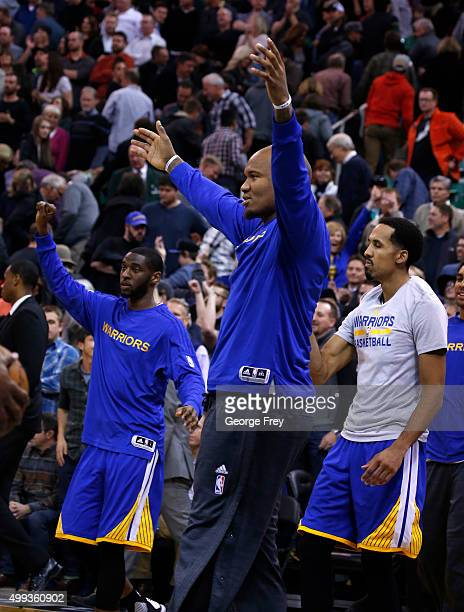 The bench of the Golden State Warriors celebrates their win over the Utah Jazz during the second half of an NBA game November 30 2014 at Vivint Smart...