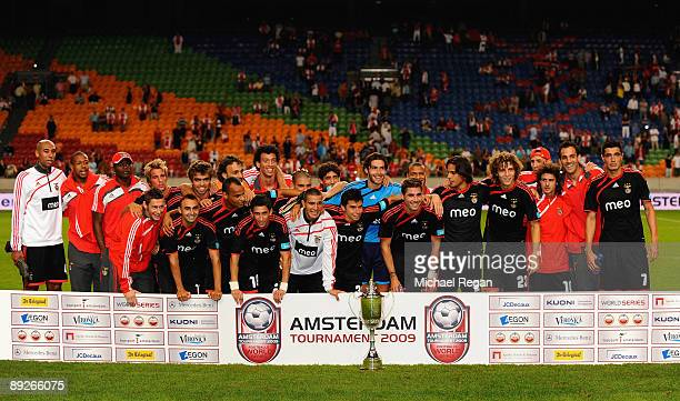 The Benfica squad celebrate winning the competition after the Amsterdam Tournament match between Ajax and Benfica at the Amsterdam Arena on July 26...