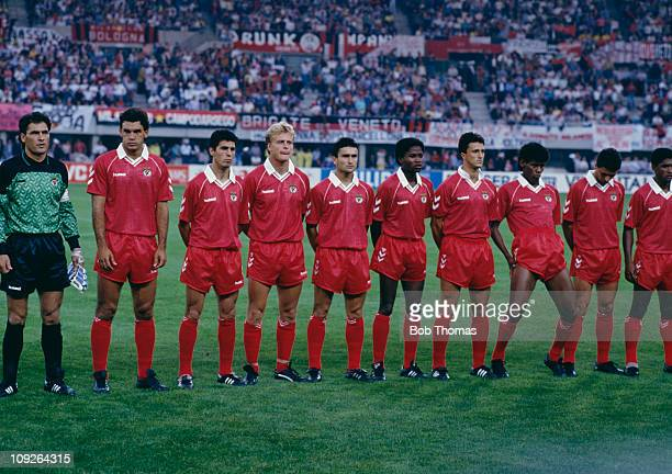 The Benfica team before their European Cup final match against AC Milan at the Praterstadion in Vienna Austria 23rd May 1990 Milan won the match 10