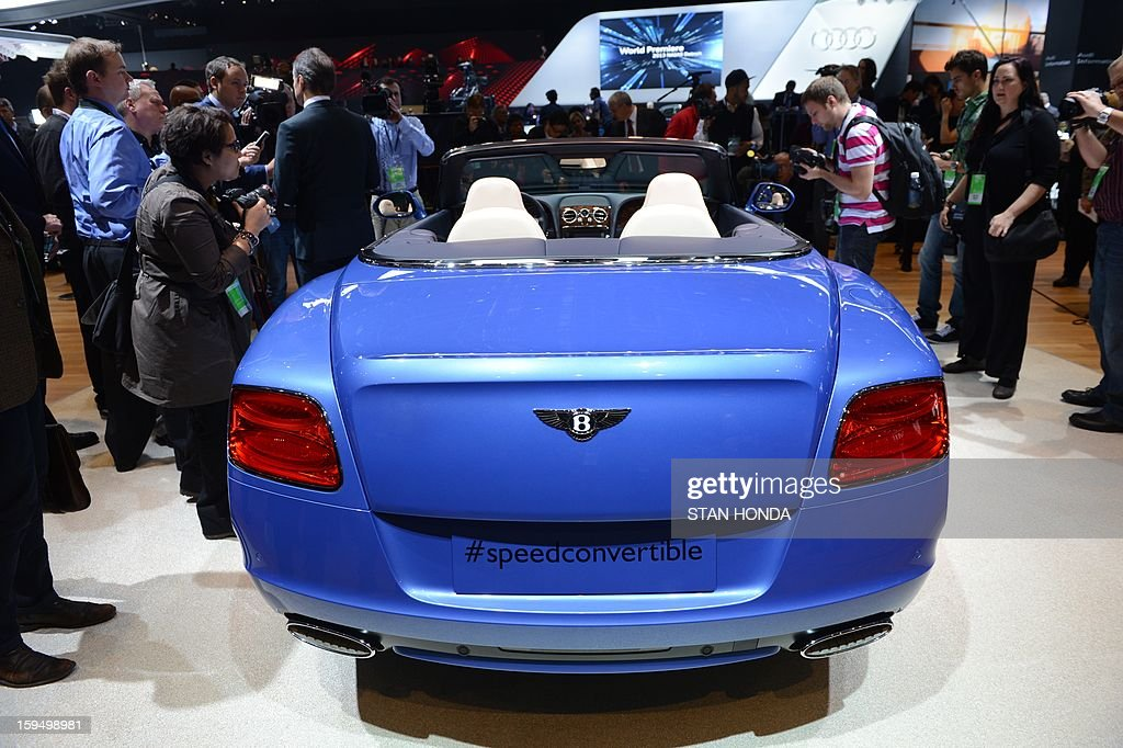 The Bentley Continental GT Speed Convertible is introduced at the 2013 North American International Auto Show in Detroit, Michigan, on January 14, 2013. AFP PHOTO/Stan HONDA