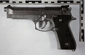 The Beretta 9mm gun used by Tim Kretschmer is pictured during a press conference at the police station on March 12 2009 in Waiblingen Germany 17 year...