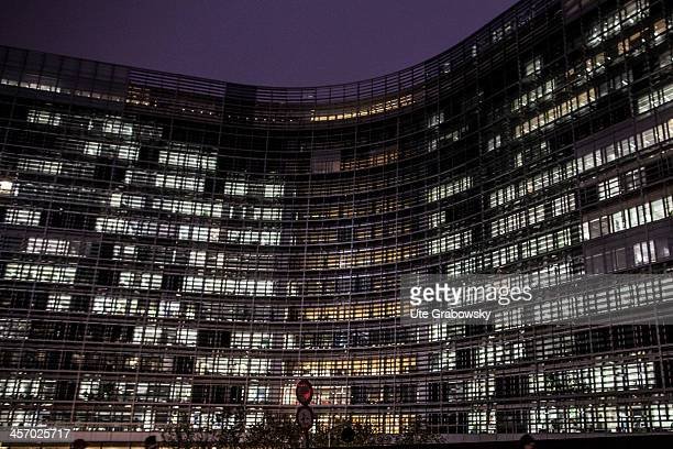 The Berlaymont building headquarters of the European Commission pictured in the evening light on November 12 2013 in Brussels Belgium