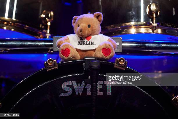 The Berlin bear is seen sitting on top of the drumkit during the performance of Sweet at Columbiahalle on March 24 2017 in Berlin Germany