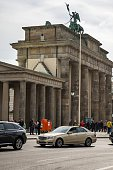 The Berlin landmark Brandenburg Gate is seen on September 24 2014 Erected between 1788 and 1791 the Brandenburg Gate is a former symbol of the...