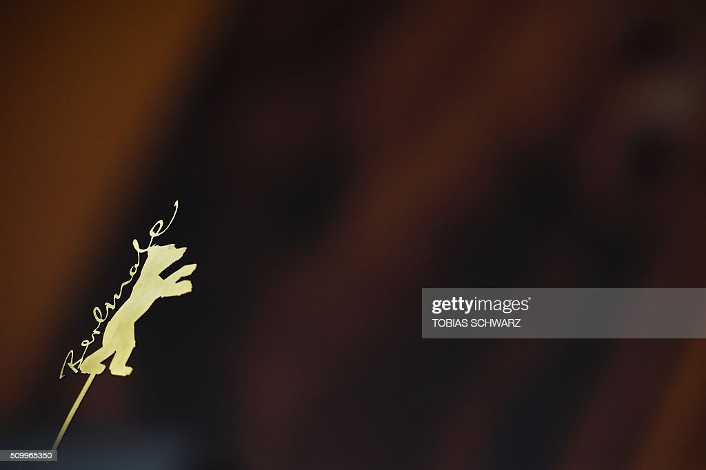 The Berlinale logo is pictured ahead a press conference at the 66th Berlinale Film Festival in Berlin on February 13, 2016. / AFP / TOBIAS SCHWARZ