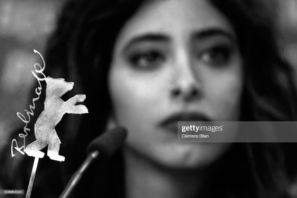 The Berlinale logo is seen with actress Samar Qupty in the background during the 'Junction 48' press conference during the 66th Berlinale International Film Festival Berlin at Grand Hyatt Hotel on February 13, 2016 in Berlin, Germany.
