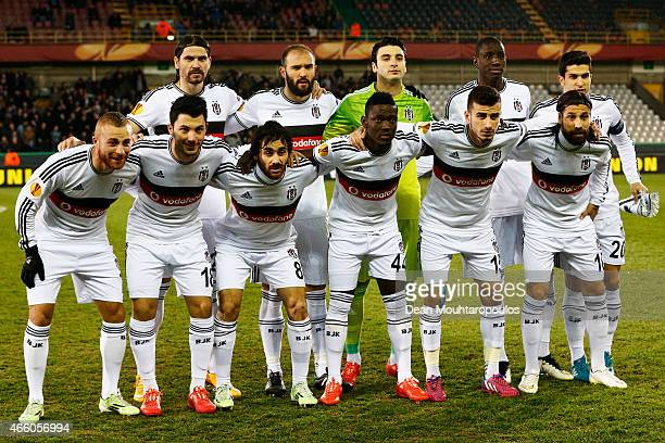 The Besiktas team line up prior to the UEFA Europa League Round of 16 1st leg match between Club Brugge KV and Besiktas JK held at the Jan Breydel...