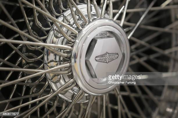 The bespoke wire wheels of 'Speedback' the new luxury British sports car made by David Brown Automotive on March 20 2014 in Coventry England The...