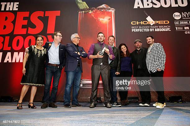 The Best Bloody in America winner David Wakefield speaks onstage with Maneet Chauhan Ted Allen Geoffrey Zakarian Marc Murphy Alex Guarnaschelli Chris...