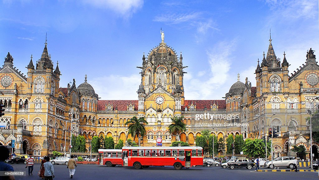 The Best bus of Mumbai in back drop of CST buildin