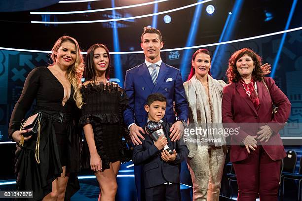 The Best FIFA Men's Player Award winner Cristiano Ronaldo of Portugal and Real Madrid poses together with his family and girlfriend Georgina...