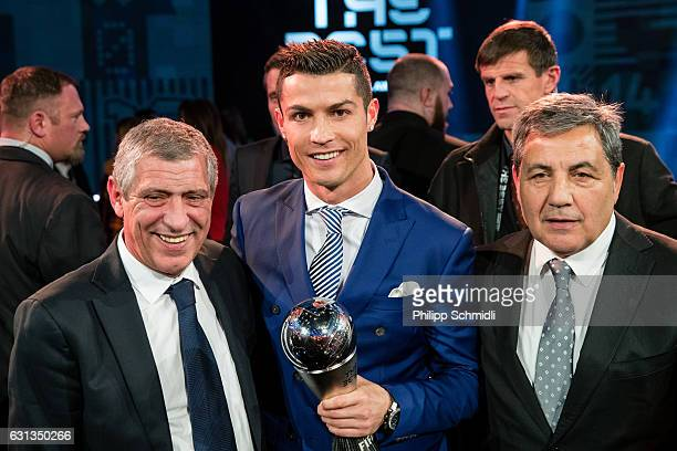 The Best FIFA Men's Player Award winner Cristiano Ronaldo of Portugal and Real Madrid and The Best FIFA Men's Coach Award nominee Fernando Santos...