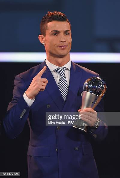 The Best FIFA Men's Player Award winner Cristiano Ronaldo of Portugal and Real Madrid poses during The Best FIFA Football Awards at TPC Studio on...