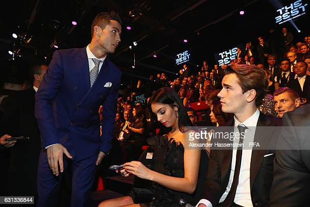 The Best FIFA Men's Player nominee Cristiano Ronaldo of Portugal and Real Madrid takes a seat prior to The Best FIFA Football Awards at TPC Studio on...