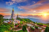 The best of landscape in Chiang mai. Pagodas Noppamethanedol & Noppapol Phumsiri at sunset in Inthanon mountain, Thailand.