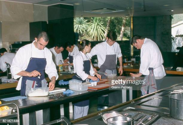 The best Spanish chefs Cookers of the Restaurant 'El Bulli' Chef Ferran Adria Cala Montjoy Figueras Catalonia Spain