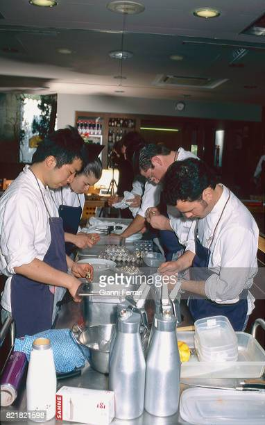 The best Spanish chefs Cookers of the Restaurant 'El Bulli' Chef Ferran Adria Cala Montjoy Figueras Catalonia Spain