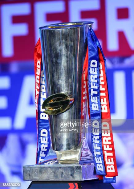 The Betfred Super League Trophy is seen during the Rugby League 2017 Season Launch at Leigh Sports Village on February 2 2017 in Leigh Greater...