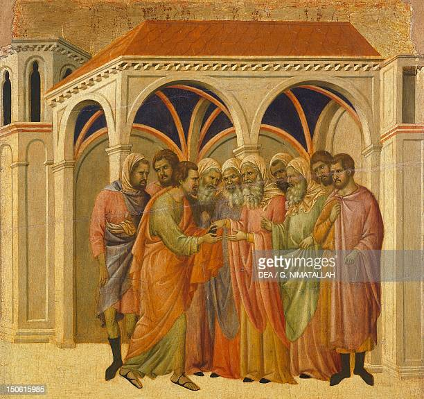 The Betrayal by Judas detail of a tile from the Episodes from Christ's Passion and Resurrection the reverse surface of the Maesta' of Duccio...