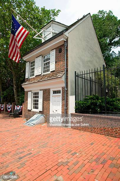 'The Betsy Ross House on East Third Street, Philadelphia, Pennsylvania, where Betsy Ross created first American flag in 1778'