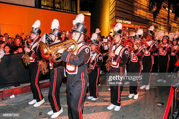 The Beverly Hills High School Marching Band performs at the Beverly Hills Holiday Lighting Ceremony On Rodeo Drive on November 22 2015 in Beverly...