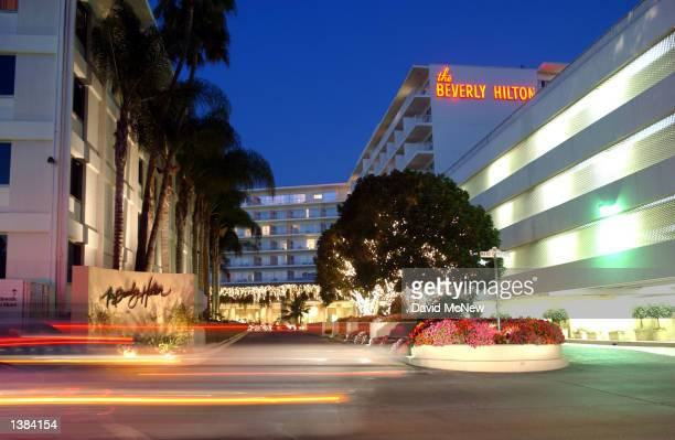 The Beverly Hilton hotel at the corner of Wilshire Blvd and Santa Monica Blvd is seen on September 12 2002 in Beverly Hills California The hotel has...