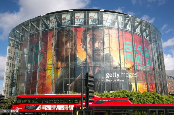 The BFI IMAX Theater located adjacent to Waterloo Station features a large billboard promotion for the new 'Blade Runner 2049' film as viewed on...