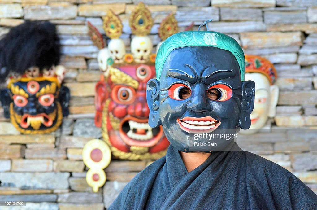 The Bhutanese Behind A Mask : Foto de stock