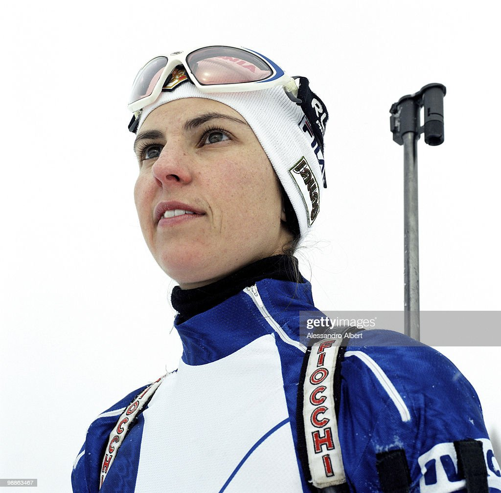 The Biathlon italian champion <a gi-track='captionPersonalityLinkClicked' href=/galleries/search?phrase=Michela+Ponza&family=editorial&specificpeople=813639 ng-click='$event.stopPropagation()'>Michela Ponza</a> poses for a portraits session on January 22, 2006 in Sansicario, Italy.