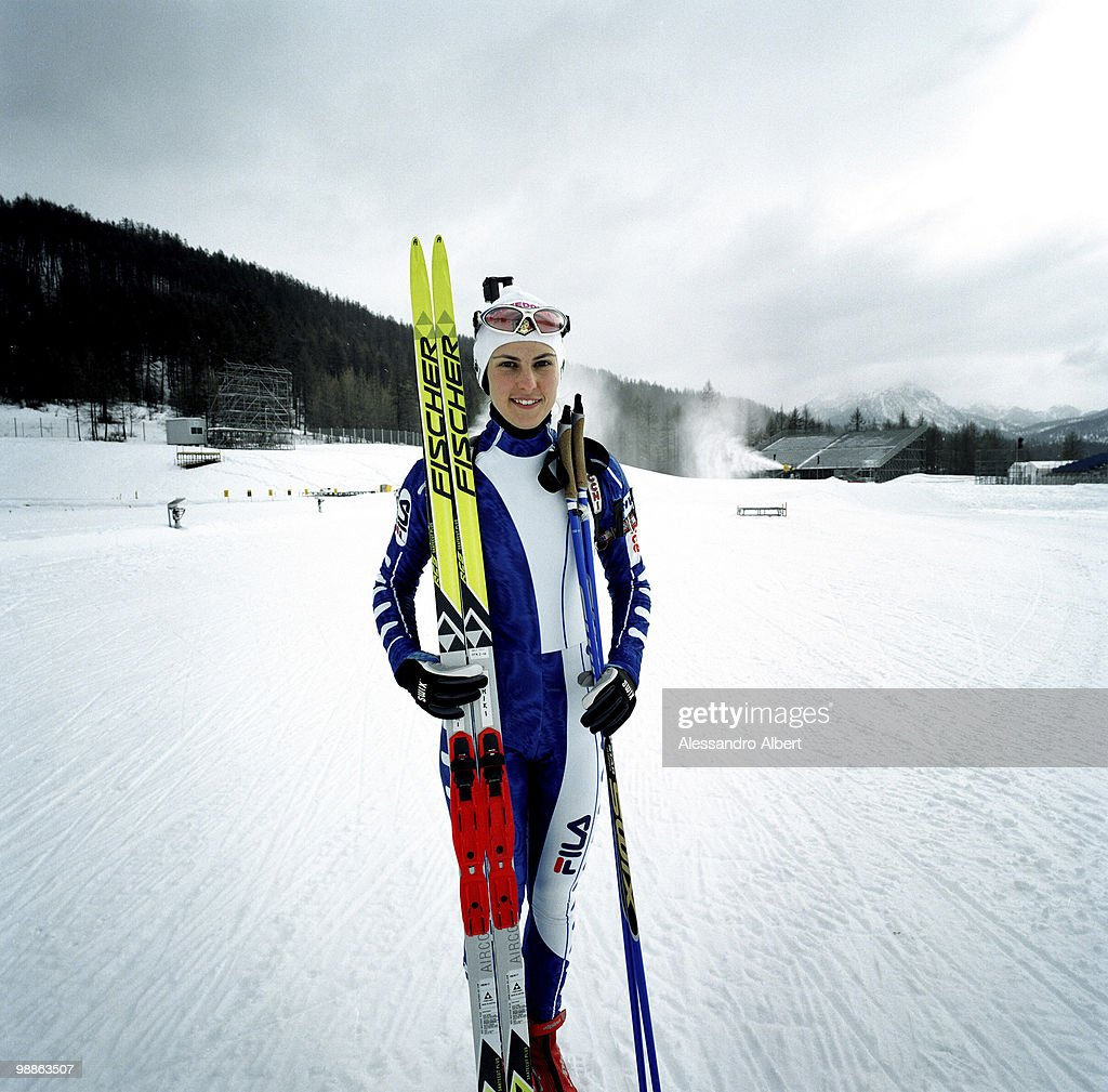 The Biathlon italian champion Michela Ponza poses for a portraits session on January 22 2006 in Sansicario Italy