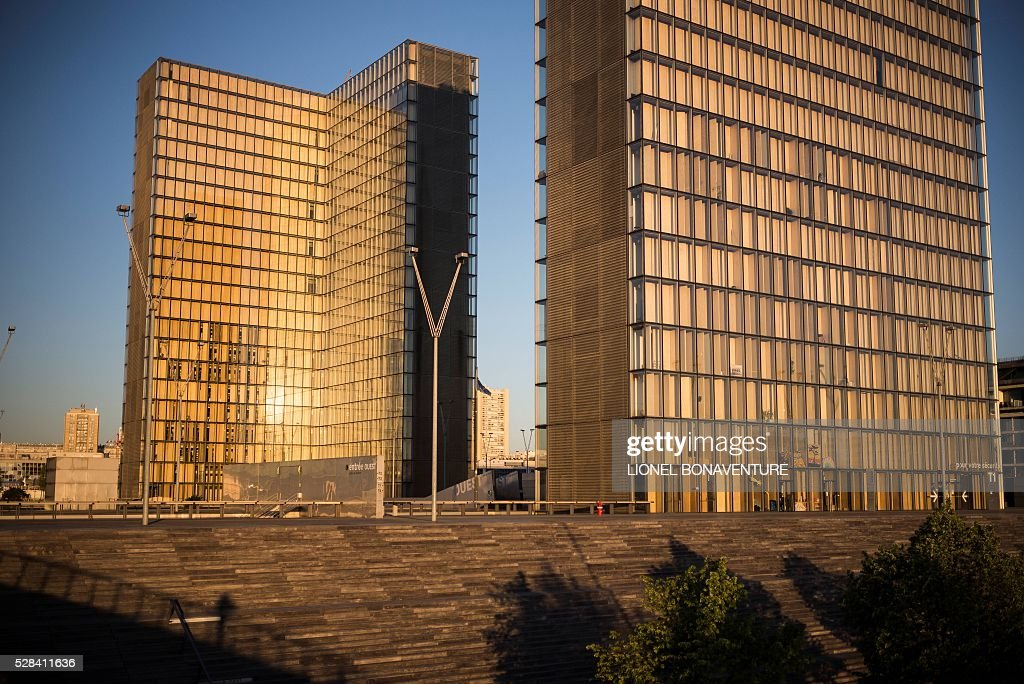 The Bibliotheque Nationale de France (BNF - French National Library), is pictured , on May 5, 2016 in Paris. / AFP / LIONEL