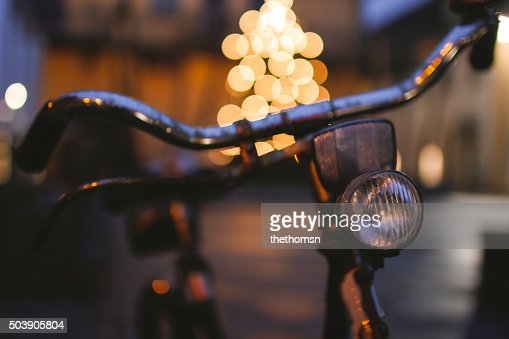The bicycle in front of the christmas tree (bokeh)