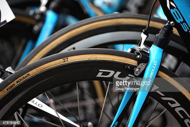 The bicycle of Chris Froome of Great Britain riding for Team Sky is equiped with rear suspension and special tires as he is prepared to ride...
