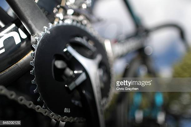 The bicycle of Christopher Froome of Great Britain riding for Team Sky is seen prior to stage five of the 2016 Le Tour de France a 216km stage from...