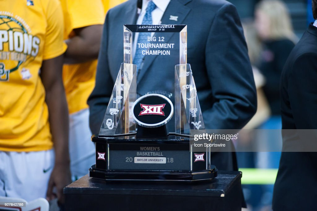 The Big 12 tournament trophy post game of the Texas versus Baylor game during the Big 12 Women's Championship on March 05, 2018 at Chesapeake Energy Arena in Oklahoma City, OK.
