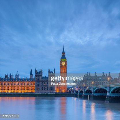 The Big Ben in London at dusk