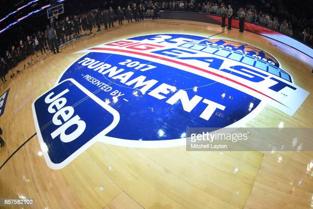 The Big East logo on the floor before the Big East Basketball Tournament Quarterfinal game between the Xavier Musketeers and the Butler Bulldogs at...