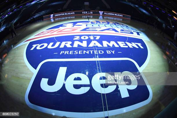 The Big East logo on the floor before the Big East Basketball Tournament Championship game between the Villanova Wildcats and the Creighton Bluejays...