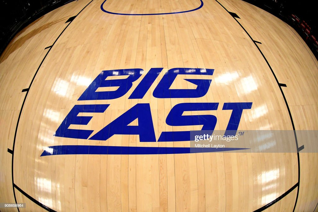 The Big East logo on the floor during a women's college basketball game between the DePaul Blue Demons and the Xavier Musketeers at Wintrust Arena on January 12, 2018 in Chicago, Illinois. The Blue Demons won 79-48.