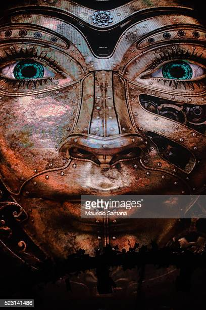 The big face with the opened eyes during the first day of the Tomorrowland music festival at Parque Maeda Itu on April 21 2016 in Sao Paulo Brazil