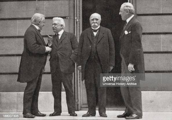 The Big Four At Versailles France During The Peace Treaty Of 1919 At The End Of World War One From Left David Lloyd George Vittorio Emanuele Orlando...