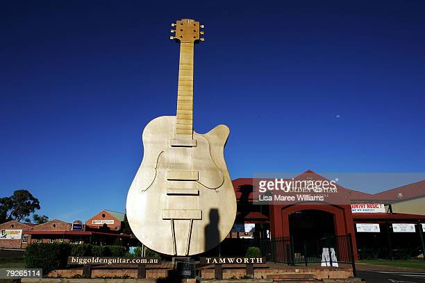 The Big Golden Guitar is a major tourist attraction during the Tamworth Country Music Festival as pictured on January 26 2008 in Tamworth Australia...