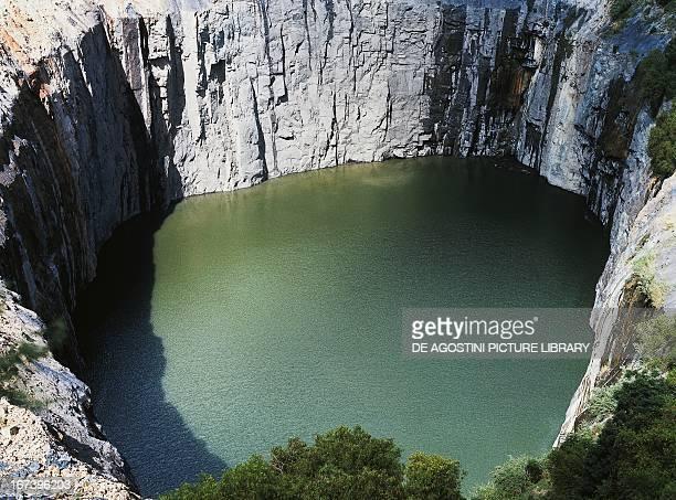 The Big Hole abandoned diamond mine 215 metres deep Kimberley Northern Cape South Africa